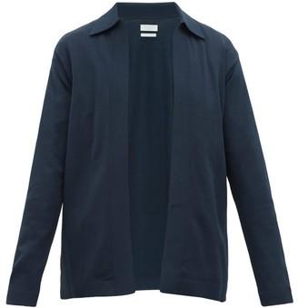 Deveaux Collared Textured Jersey Cardigan - Navy