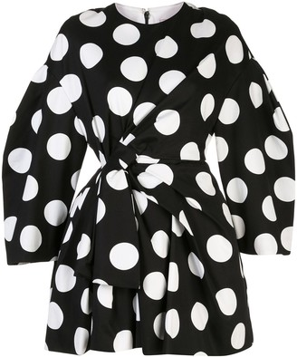 Carolina Herrera Polka Dot Bow Detail Dress