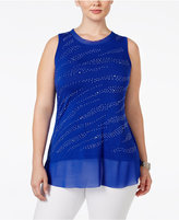 Belldini Plus Size Embellished Zebra-Striped Top