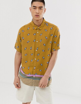 RVCA Lux short sleeve shirt in yellow