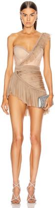 AADNEVIK One Shoulder Asymmetric Bustier Mini Dress in Nude | FWRD
