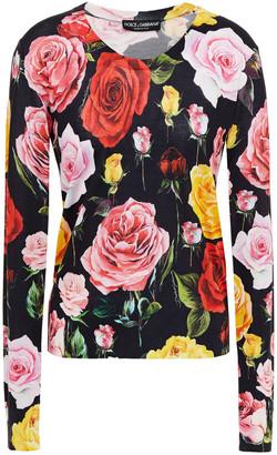 Dolce & Gabbana Floral-print Silk Sweater
