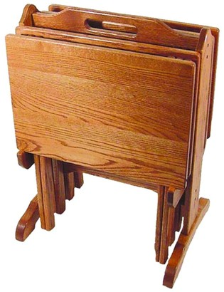 Kunkle Holdings Oak Folding TV Tray Set with Storage Stand