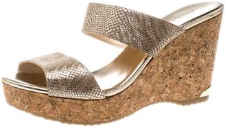 Jimmy Choo Metallic Beige Python Print Suede Parker Cork Wedge Sandals Size 41
