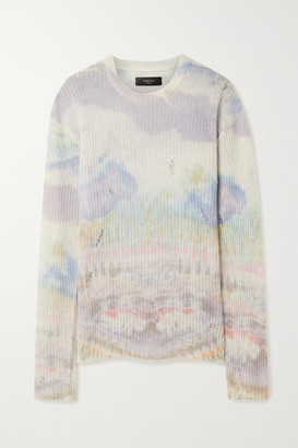 Amiri Distressed Tie-dyed Cashmere Sweater - Cream