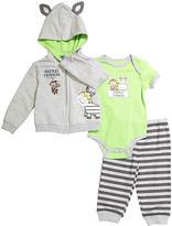 Buster Brown Jade Lime & Gray 'Safari Friends' Stripe Hoodie Set - Infant