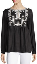 Neiman Marcus Embroidered Crewneck Long-Sleeve Tunic, Black