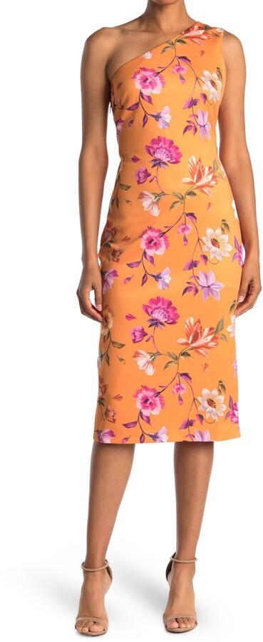 Ted Baker Lacieyy Rhubarb Floral One Shoulder Sheath Dress