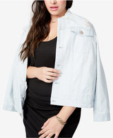 Rachel Roy Trendy Plus Size Distressed Denim Jacket