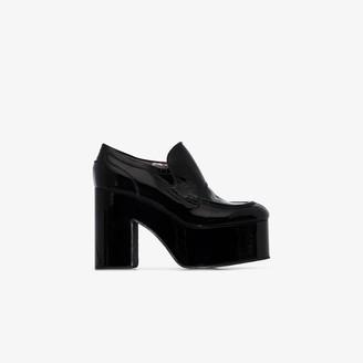 Dries Van Noten Black 60 Platform Leather Moccasin Loafers
