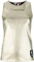 Plein Sport - front zip metallic tank - women - Cotton/Spandex/Elastane - S