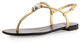 Giuseppe Zanotti Jeweled Leather Thong Sandal, Gold