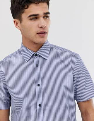 Esprit regular fit short sleeve shirt in vertical stripe-Blue