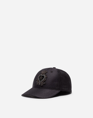 Dolce & Gabbana Baseball Cap In Jacquard Silk With Patch