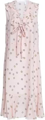 See by Chloe Ruffled Printed Crepe Midi Dress