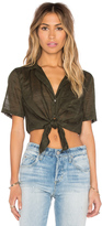Bobi Plaid Woven Stripe Waist Tie Short Sleeve Top