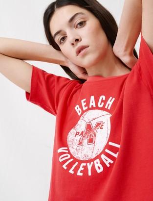 Maje Short red screen-printed T-Shirt