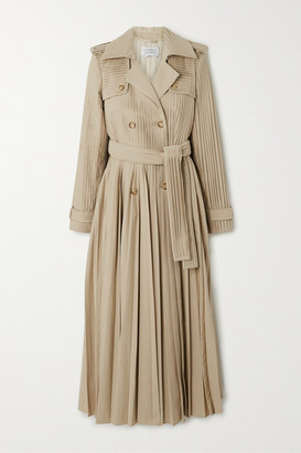 Gabriela Hearst Stein Pleated Cotton-poplin Trench Coat - Beige