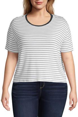 Arizona Short Sleeve Scoop Neck Stripe Tee - Juniors Plus