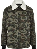 River Island MensKhaki camo fleece collar jacket