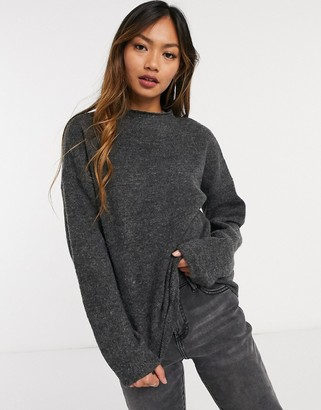 Vila knitted jumper co-ord with high neck in grey
