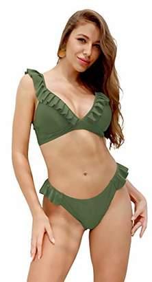 VARSDODO Women's Ruffles Flounce Lace Up Bikini Two Piece Swimsuit Bathing (XL