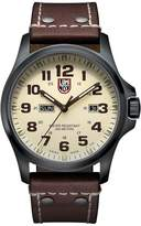 """Luminox Men's 1927 """"Atacama"""" Stainless Steel Black PVD Watch with Brown Leather Band"""