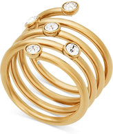 Michael Kors Gold-Tone Crystal Spiral Ring