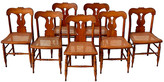 One Kings Lane Vintage Antique Federal Caned Dining Chairs - Set of 8 - Cannery Row Home - chestnut