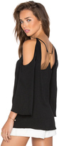 Halston Cold Shoulder Open Back Top