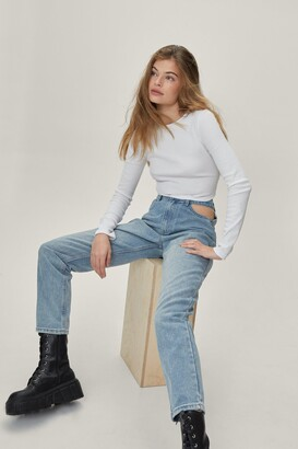 Nasty Gal Womens Cut-Out of this World High-Waisted Mom Jeans - Light Blue