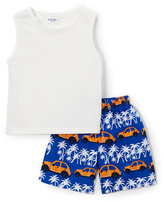 Sweet & Soft Blue & White Car Tank & Shorts Set - Infant & Toddler
