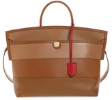 Burberry Medium Society Colorblock Stripe Leather Top Handle Bag