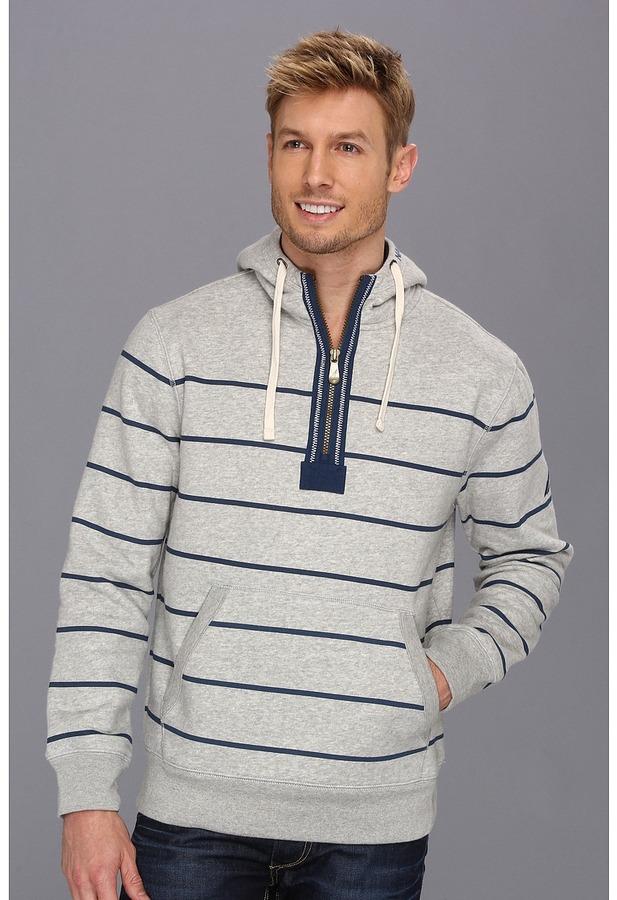 Nautica 1/4 Zip Striped Hoodie (Grey Heather) - Apparel
