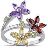Concerto Sterling Silver Multi-Gemstone Flower Ring