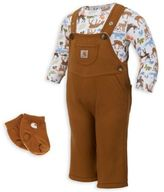 Carhartt 3-Piece Overalls, Socks and Body Shirt Set in Brown