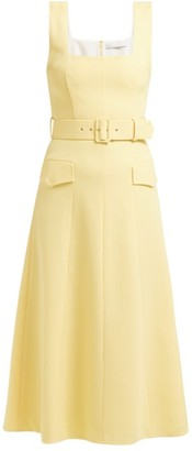 Emilia Wickstead Petra Panelled Wool Crepe Midi Dress - Womens - Light Yellow