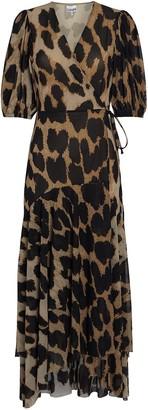 Ganni Leopard Mesh Wrap Dress