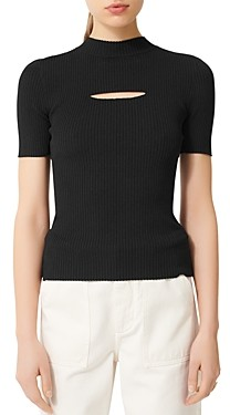 Maje Mouth Cut-Out Ribbed Sweater