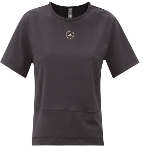 Thumbnail for your product : adidas by Stella McCartney Truestrength Recycled Fibre-blend T-shirt - Black