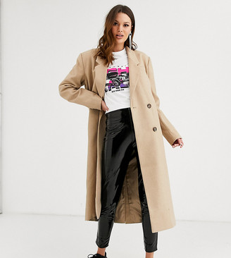 Asos Tall DESIGN Tall double breasted longline coat in camel-Beige
