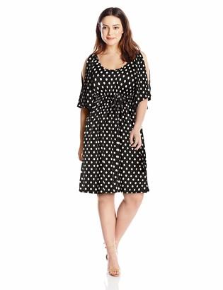 Star Vixen Women's Plus-Size Slit Flutter Sleeve Empire Drawstring Waist Dress