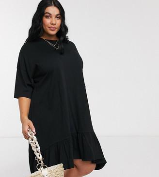 Asos DESIGN Curve oversized smock dress with tiered dip hem in black