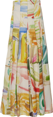 Rosie Assoulin Pleated Printed Cotton-Poplin Maxi Skirt