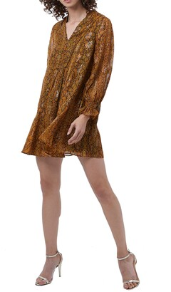 French Connection Desta Snakeskin Print Jacquard Long Sleeve Minidress