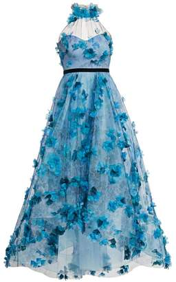 Marchesa Floral-Embroidered High-Low Halter Gown