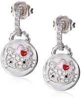 Hello Kitty Sterling Heart Bow Swarovski Crystal Pave Disc Earring