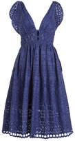Self-Portrait Tie Shoulder Lace Midi Dress with Cotton