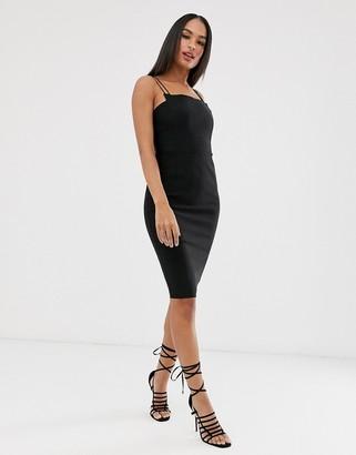 Vesper strappy square neck dress-Black
