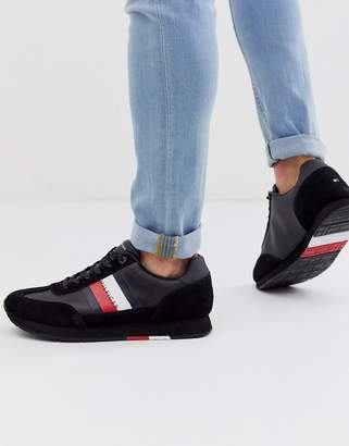 Tommy Hilfiger corporate leather suede mix runner trainer in black